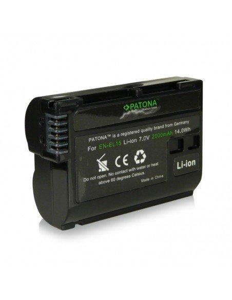 Batería Patona EN-EL15 Infochip para Nikon D7000 D7100 D750 D800/E D600 D610 V1