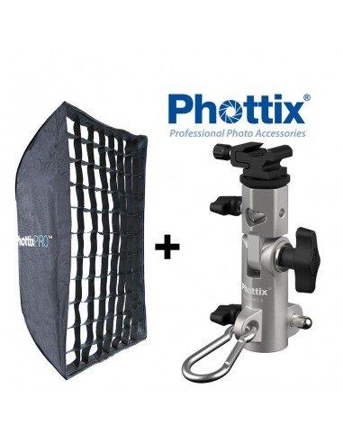 Kit Ventana Phottix Pro Easy-Up HD 60x90cm con Grid y rótula Varos XS para flash compacto