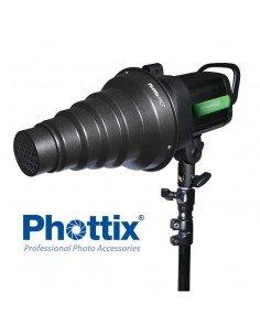 Snoot Phottix Pro con geles de color y montura Bowens