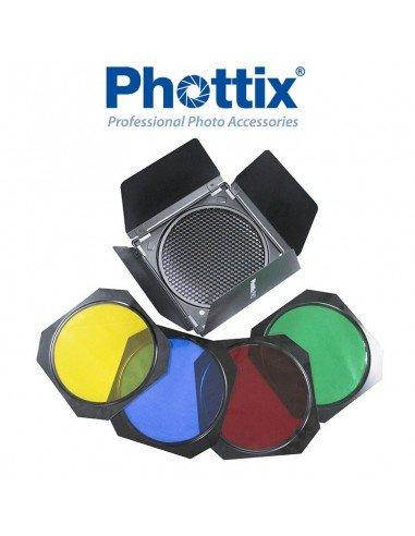 """Juego de aletas Phottix con nido y filtros de color para reflectores de 7"""" (18cm)"""
