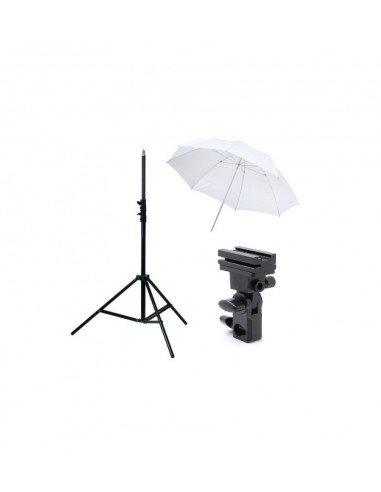 Kit Strobist pie estudio 200cm, paraguas difusor 84cm, soporte tipo B