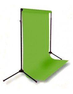 Kit Soporte fondos 2,6x3mts extensible + Fondo cartulina Verde Cromakey 2,75x11m