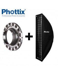 Ventana de luz Phottix Solas Strip 35x140cm con Grid para Bowens
