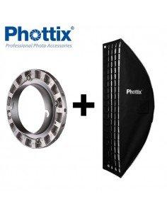 Ventana de luz Phottix Solas Strip 35x140cm con Grid para Elinchrom