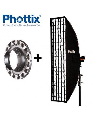 Ventana de luz Phottix Solas Strip 40x180cm con Grid para Bowens