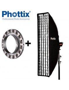 Ventana de luz Phottix Solas Strip 40x180cm con Grid para Elinchrom