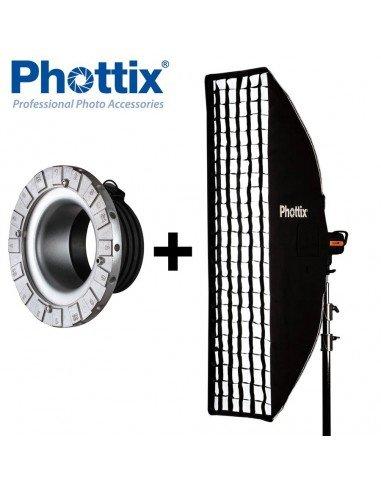 Ventana de luz Phottix Solas Strip 40x180cm con Grid para Profoto