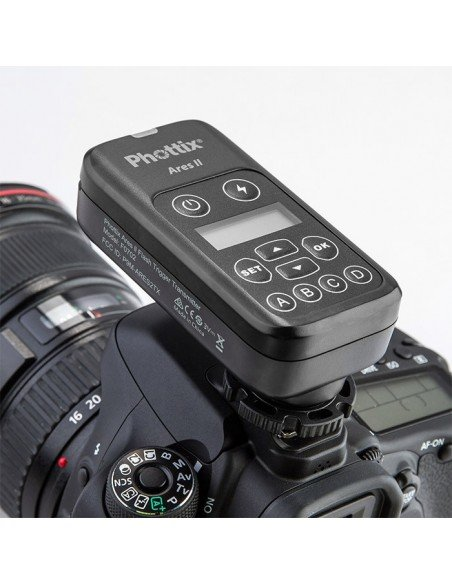 Kit emisor y 2 receptores Phottix Ares II para flash compacto