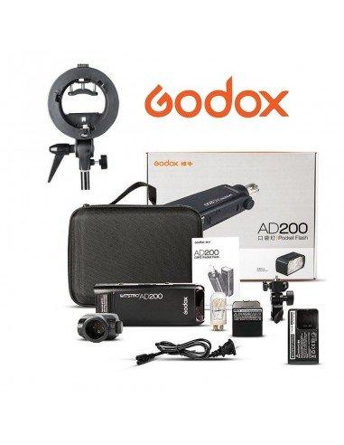Flash Godox AD200 200Ws 2.4G TTL HSS con montura adaptadora Bowens