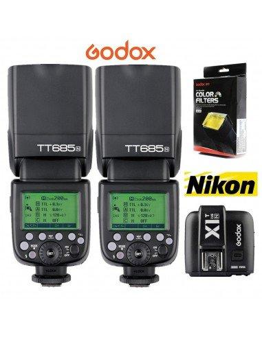 Kit 2 Flashes Godox TT685 Nikon TTL HSS Gn60 y transmisor X1. Gratis difusor