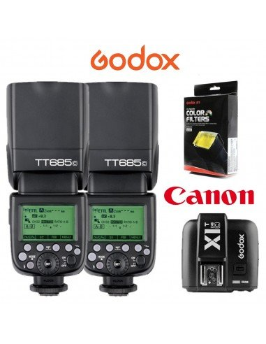 Kit 2 Flashes Godox TT685 Canon TTL HSS Gn60 y transmisor X1. Gratis difusor