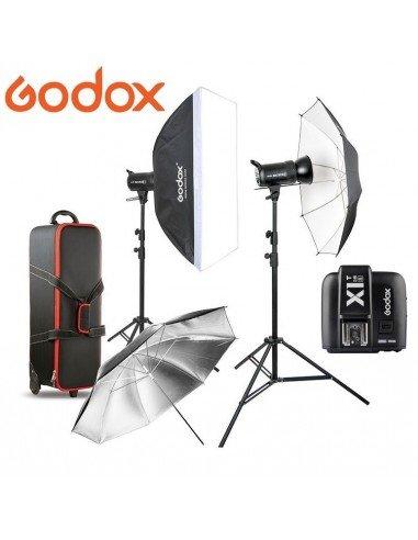 Kit 2 Flashes Godox SK300II con receptor 2.4G integrado y transmisor X1