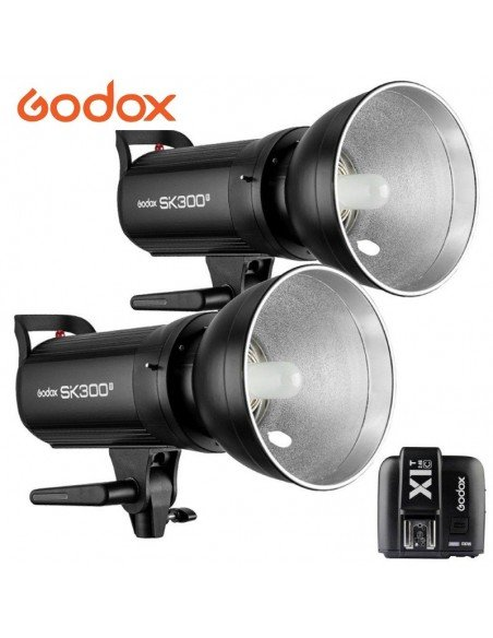 Kit 2 Flashes Godox SK300II 2.4G y transmisor X1