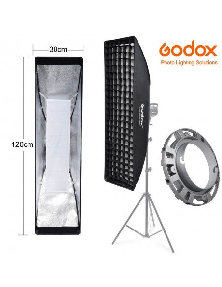 Ventana Strip Godox Premium 30x120cm con GRID y adaptador Elinchrom