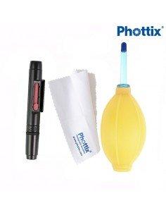Kit de limpieza Phottix con Lens Pen, gamuza y pera de aire