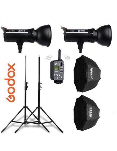 Kit 2 flashes Godox DS300II con receptor interno, octas, pies y transmisor XT16