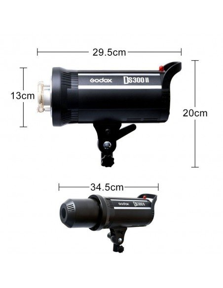 Kit 2 flashes Godox DS300II receptor interno, ventanas, pies y transmisor XT16