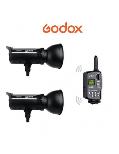 Kit 2 ó 3 Flashes Godox DS300II con receptor Godox X 2.4G integrado