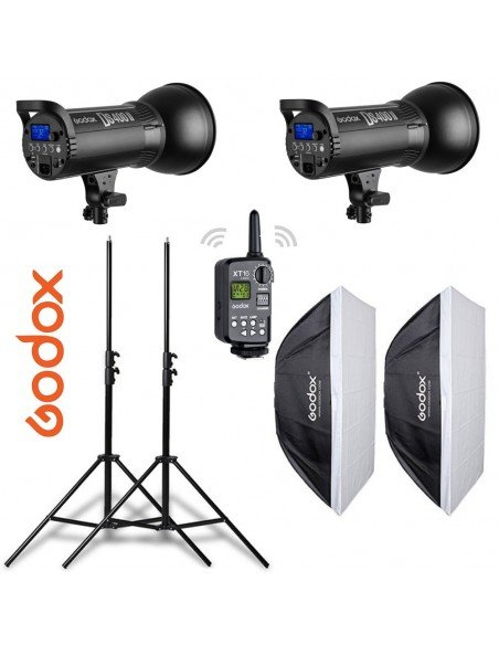 Kit 2 flashes Godox DS400II receptor interno, ventanas, pies y transmisor XT16