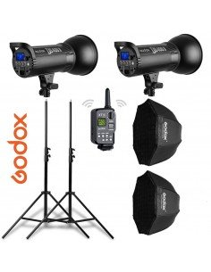 Kit 2 flashes Godox DS400II receptor interno, octas, pies y transmisor XT16