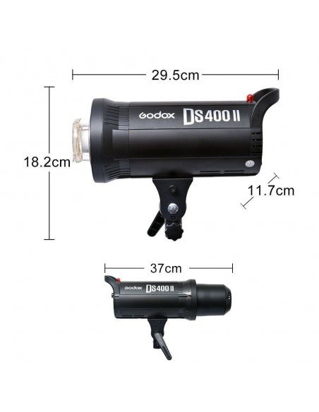 Kit 2 flashes Godox DS400II receptor interno, octas, pies y transmisor XT16