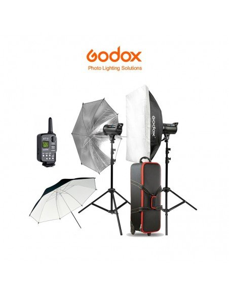Kit 2 flashes Godox DS400II con transmisor y maleta