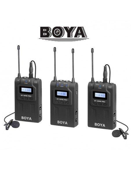 Kit micrófono inalámbrico Boya UHF PRO 2TX+1RX