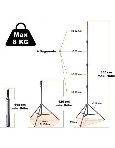 Paraguas profesional Phottix Para-Pro Plata-negro 182cm
