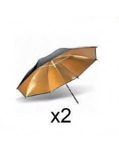 Juego 2 Paraguas dorado-negro 84cm