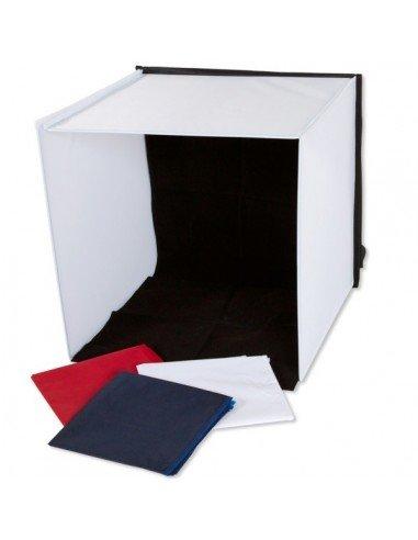 Caja de luz portatil 60x60x60cm con 4 fondos para fotografia de producto