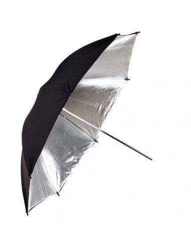 Paraguas reflectante, interior plata, exterior negro 101cm