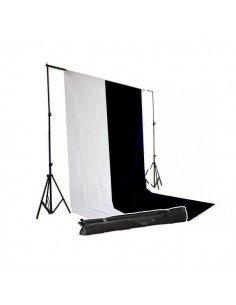 Kit Soporte fondos 2,6x3 metros + fondos algodón blanco y negro 3x6 metros