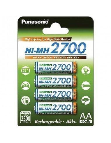 Pack 4 baterías Panasonic AA recargables 2700mAh