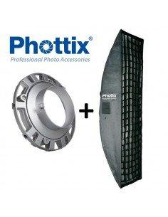 Kit Strobist pie estudio Phottix 190cm, paraguas difusor 84cm, soporte tipo B